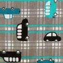 Kinderzeichnung, Autos auf graubeige, türkise Linien