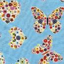 Blumenschmetterlinge und Blumenherzen auf hellblau