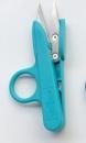 Ringfingerschere mit türkisem Griff