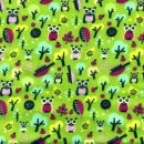 Grüner Flanell mit Eulen