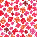 Gepunktete Kleeblätter rot, orange, pink auf weiß