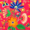 Bunte Blüten und Schmetterlinge auf pink