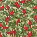 Weihnachtsstoff Kardinalvögel