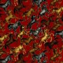 Pferde auf rotem Hintergrund