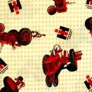 Rote Traktoren auf beigem Grund