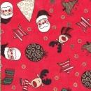 Roter Weihnachtsdruck mit  weihnachtlichen Motiven