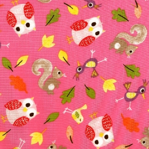 Eulen, Eichhörnchen, Vögel auf rosa Hintergrund