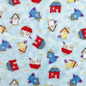 Kleine Häuschen auf hellblau