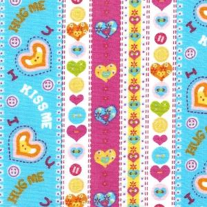 Reihenweise Buttons, himmelblaue und rosa Bordüren