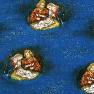 Weihnachtsstoff nächtliche Krippenszene