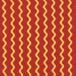 Gelbe Wellenlinien auf rotem Hintergrund