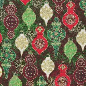 Baumbehang Olivenkugeln auf rot-grün meliertem Hintergrund