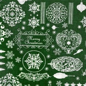 Landhaus-Weihnachtsstoff, weiße Ornamente auf grün