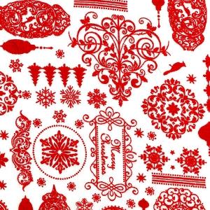 Landhaus-Weihnachtsstoff, rote Ornamente auf weiß